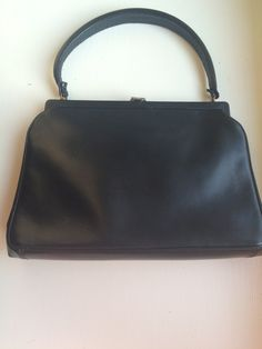 Vintage Koret Genuine Calfskin Black Leather MidCentury Handbag by ItsallforHim on Etsy