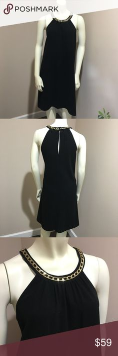 {Calvin Klein} sz 12 Gold Chain Halter Dress Gold chain accent neckline halter/high neck black dress. Sleeveless cut. Double hook eye closure in center back with slip. Gathered material around neck line. Tea Length. Light weight material. Condition: Great condition. Size: 12 Color: Black and Gold Material: 100% polyester  Remember to Bundle and SAVE! Happy Shopping! Calvin Klein Dresses Mini