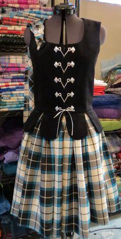 Bonnie Shadow tartan outfit made by Karen's Kilts, Hamilton, ON, Canada for Leah Whitten. Tartan Dress, Tartan Plaid, Country Dance, Plaid Outfits, Styles, Dance Costumes, Renaissance, Britain, Scotland