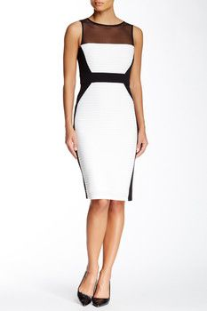 Maggy London Sleeveless Illusion Yoke Tucked Colorblock Sheath Dress