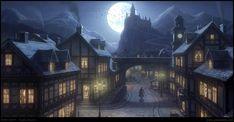 Village Night by penemenn on DeviantArt Fantasy city Fantasy castle Fantasy town
