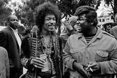 Jimi Hendrix and Buddy Miles at the Panhandle Free Concert in San Francisco, 1967.