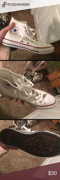 White high top converse Brand new never warn perfect shape Converse Shoes Sneakers