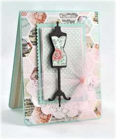 Debbie Olson Dress Form card designed using Ooh La La French Frills and Spellbinders French Frills Dies