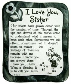 Blue Mountain Arts I Love You Sister by Marci Sculpted Resin Magnet by estela The Words, I Love You Sister, My Love, Pomes, Happy Birthday Sister, Sister Birthday Quotes, Birthday Songs, Baby Sister, Birthday Images