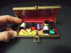 Gold Sewing Kit  / thumb closure /  Belding Corticelli Spooled thread / advertising tape measure by DocsOddsandEnds on Etsy