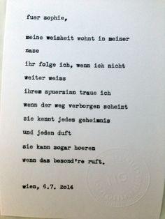 Sag mir ein Wort und ich schreib dir ein Gedicht. Wortfachgeschaeft @ Heuer am Karlsplatz. Inspirationswort: Nase