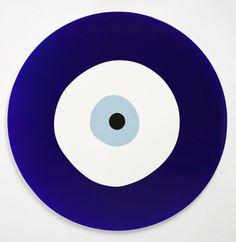 Gavin Turk,Evil Eye,2012, Poured acrylic paint on tondo canvas