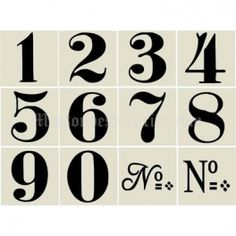 Old World Style No 1 Numbers 12 small stencils