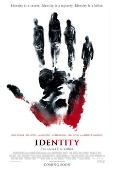 Identity , starring John Cusack, Ray Liotta, Amanda Peet, John Hawkes. Stranded at a desolate Nevada motel during a nasty rainstorm, ten strangers become acquainted with each other when they realize that they're being killed off one by one. #Mystery #Thriller