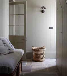 Cottage Hallway, Country Cottage Bedroom, Cottage Living, Tongue And Groove Walls, Laundry Room Inspiration, Hallway Designs, Small Hallways, Entry Foyer, Hallway Decorating