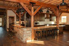 Rustic kitchen post & beam style barn home sand creek post & Design Case, Küchen Design, House Design, Interior Design, Cabin Homes, Log Homes, Metal Building Homes, Building A House, Metal Homes
