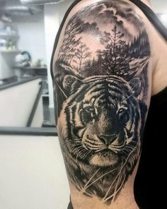 100 Tiger Tattoo Designs For Men – King Of Beasts And Jungle – Tattoo Ideas - Tattoo Designs Men Half Sleeve Tattoos Tiger, Mens Tiger Tattoo, Lion Tattoo Sleeves, Tiger Tattoo Design, Cool Arm Tattoos, Arm Tattoos For Guys, Forearm Tattoo Men, Black Tattoos, Son Tattoos