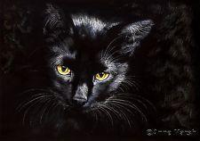 BLACK CAT DEAD OF NIGHT LIMITED EDITION PRINT FANTASY PAINTING ANNE MARSH ART