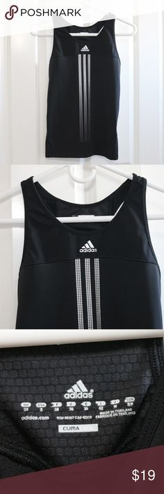 Adidas Climacool Black Racerback Tank Small S Adidas Response ClimaCool - women's racerback tank.  Black.  Sleeveless.  Size Small.  About 15 inches from armpit to armpit.  About 22 inches from shoulder to hem.  Form fitting.  Excellent preowned condition.  No wear.  Like new. adidas Tops Tank Tops