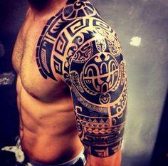 Aztec arm tattoo