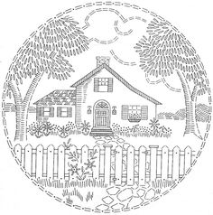 Vintage Embroidery Patterns embroidery pattern house fence trees - No envelope with this one. Hungarian Embroidery, Brazilian Embroidery, Embroidery Needles, Crewel Embroidery, Vintage Embroidery, Ribbon Embroidery, Cross Stitch Embroidery, Machine Embroidery, Embroidery Tattoo