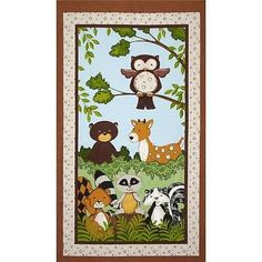 """""""Forest Friends"""" Flannel Wall Hanging Quilt Fabric Panel 100 Cotton Animals 