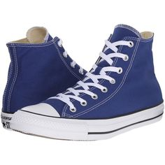 Converse Chuck Taylor All Star Seasonal Color Hi (Roadtrip... ($36) ❤ liked on Polyvore featuring shoes, sneakers, blue, rubber shoes, colorful sneakers, black and white shoes, converse trainers and white and black sneakers