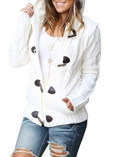 601dcc781c Sidefeel Women Button Up Cardigan Hooded Sweater Coat Outwear with Pockets  Small White