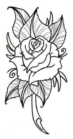 Best Photos of Rose Outline Stencil - Rose Drawing Tattoo Stencil . Easy Flower Drawings, Easy Drawings, Drawing Flowers, Painting Flowers, Tattoo Outline, Grey Tattoo, Tattoo Art, Tribal Rose Tattoos, Tattoos Skull