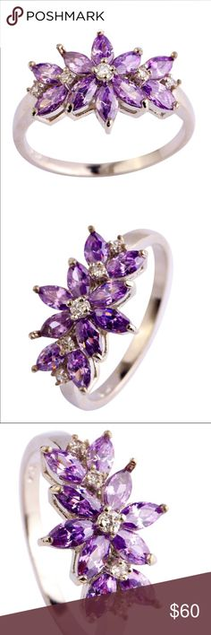 925 Sterling Silver and Amethyst Ring Stunning  925 sterling silver and amethyst ring size 8. Very good quality ring. Jewelry Rings