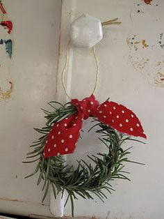 Mini rosemary wreath, 2 sprigs tied with pipe cleaner and add ribbon bow