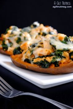 Spinach and Prosciutto Stuffed Sweet Potatoes