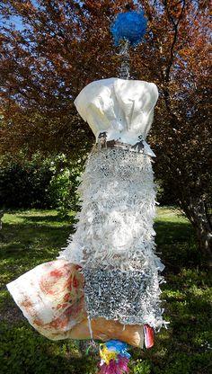 Tête Bleue - Robe de papier Tricot de sacs