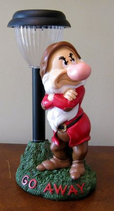 "Disneys Snow White Grumpy Dwarf ~Go Away~ 12"" Solar Light Garden Statue"