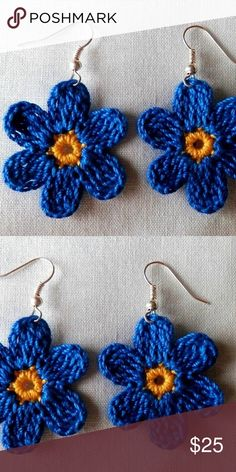 New Handmade Blue Boho Festival Flower Earrings Adorable blue and yellow crocheted floral earrings. Handmade by a local artist. Goes well with many summer styles! Crochet Jewelry Patterns, Crochet Earrings Pattern, Crochet Accessories, Crochet Designs, Handmade Jewelry Bracelets, Handmade Jewelry Designs, Earrings Handmade, Jewelry Ideas, Slip Stitch Crochet