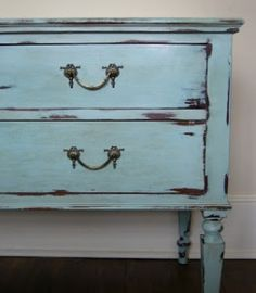 Annie Sloane Chalk Paint chest -- Recipe to make your own chalk paint.  It works!!!!!