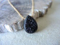 Druzy Necklace (Agate Window Druzy Titanium Coated Black With 14K Gold Filled Necklace) Druzy Stone Necklace Druzy Jewelry Gifts For Her by GemJewelrybyHWestNY on Etsy