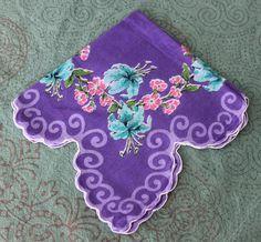 Vintage purple floral handkerchief hanky hankie by NX211 on Etsy, $4.00