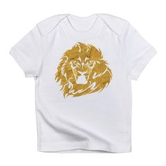 Baby Golden Lion Head Tee: short-sleeve crew-neck t-shirt;100% cotton jersey;soft for a comfortable feel;unisex standard  #gold #shirts #baby #babies #infants #lions #cats #wild