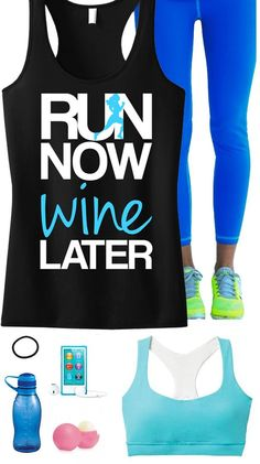 Cool #Runners Theme Outfit featuring a RUN NOW WINE LATER Black Racerback Tank Top by #NobullWomanApparel, $24.99. Perfect for #Running! Click here to buy http://nobullwoman-apparel.com/collections/fitness-tanks-workout-shirts/products/run-now-wine-later-tank-top-black-with-teal