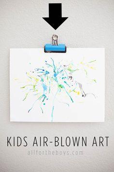 All for the Boys - Art Week Part 2: Air-BlownArt - Fun art project for kids!