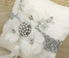 Ring Bearer Pillow- Bridal Pillow in White and Silver- Luxurious