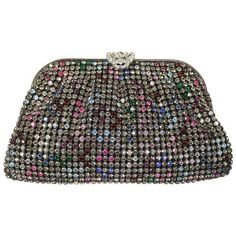 Preowned Multicolor Rhinestone Evening Clutch Purse ($495) ❤ liked on Polyvore featuring bags, handbags, clutches, multiple, pocket purse, evening purse, preowned handbags, clear purse and pre owned handbags