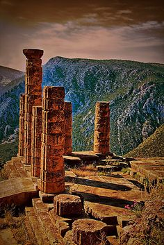 The Ruins of Temple of Apollo, Delphi, Greece. i will be going here for study aboard..yay