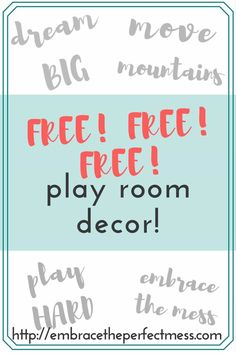 I love these free play room printables. They make decorating with kids so easy, and stylish! PLUS- They're FREE! Playroom Decor, Modern Playroom, Playroom Design, Playroom Ideas, The Embrace, Architecture Quotes, Painted Sticks, Travel Humor, Wedding Humor