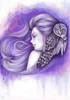 Andrea Hrnjak Owl Canvas, Canvas Prints, Art Prints, Zentangle, Gemini Art, Pin Up Girl Tattoo, Nocturnal Birds, Owl Wallpaper, Wings Drawing