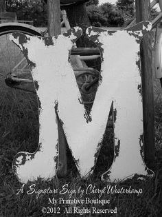 Shabby Chic WOODEN LETTERS LETTER M Vintage by MyPrimitiveBoutique, $58.00