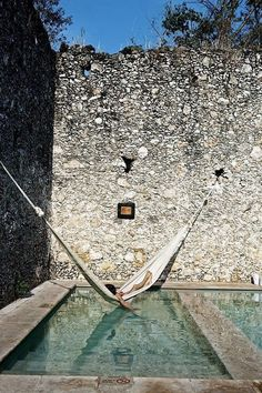 Yucatan, Mexico - A hammock over a pool! Another reason for a hammock.kiddy pool as poor girls poor substitute, but would be nice this summer Moderne Pools, Plunge Pool, Pool Designs, Water Features, The Places Youll Go, Outdoor Living, Beautiful Places, Amazing Places, Beautiful Flowers