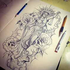 Justice walking thru Hai Tattoos, Body Art Tattoos, Sleeve Tattoos, Tatoos, Tattoo Design Drawings, Tattoo Sketches, Tattoo Designs, Justitia Tattoo, Badass Tattoos