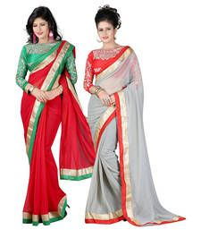 Buy Red and grey embroidered chiffon saree with blouse sarees-combo-sari online