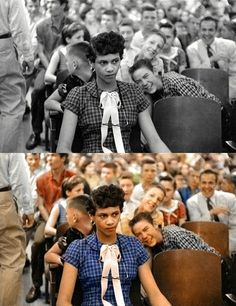 Early school desegregation - 14 Famous Old Photos Colorized... This picture shows the cruelty African-Americans suffered during those times.
