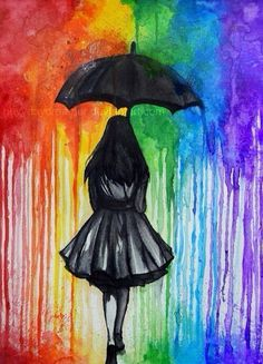 in The Rain Melted crayon art is a great aftermath. Hiking in The Rain Melted crayon art is a great aftermath. Hiking in The Rain Melted crayon art is a great aftermath. Umbrella Art, Umbrella Painting, Black Umbrella, Rainbow Art, Rainbow Colors, Rainbow Drawing, Rainbow Magic, Rainbow Things, Rainbow Pride