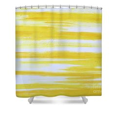 "Wake up! Abstract Art Shower Curtain featuring the painting ""Sunny Side Up"" by #LynnTolson #ShowerCurtain #YellowBathDecor #BathroomDecor #ModernBathDecor #YellowBathroomDecor"