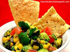AVACADO, BLACK BEAN & CORN SALSA 2 Roma tomatoes, diced 3 T red onion, chopped 1 C frozen corn 1-2 serrano peppers, minced (can use jalapeno...